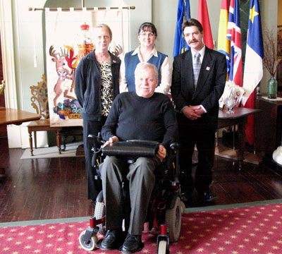Pictured at the 2012 Easter Seals Launch at the Goventment House Fredericton is Judy Carr of Woodstock, ESNB Executive Director Julia Latham, Doug MacKenzie of Woodstock and ESNB President Doug Bridgman.